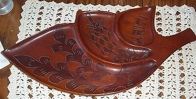 Dark hand carved vintage wood tray, Haiti, labeled September, 1967