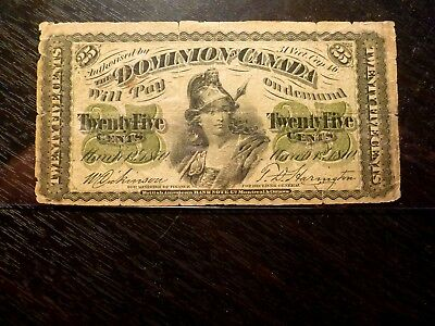 1870 25 Cents Banknote Dominion Of Canada