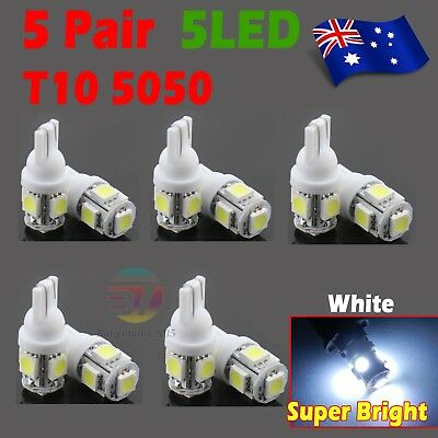 10x White T10 LED 5SMD 5050 194 168 Car Light Bulb Lamp Wedge Tail Side Auto 12V