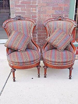 Pair of Wood carved Walnut Victorian Antique ornate Parlor Chairs