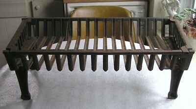 Antique Cast Iron Heavy Duty Fireplace Grate Log Holder with Removable End Caps