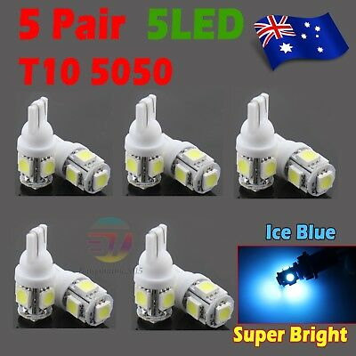 10x Ice Blue T10 194 168 5 SMD 5050 LED Car Wedge Tail Side Parking Light Globe