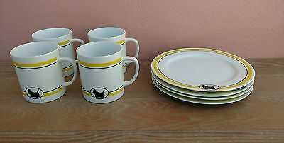 Scottie Cafe Dept 56 (4) Coffee Mugs & (4) Lunch Dessert Plates Scottish Terrier