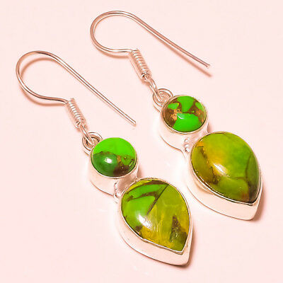 """Green Copper Turquoise Gemstone 925 Silver Plated Earring 1.7"""""""