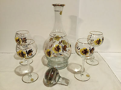 Vintage Romanian Hand Painted Glass Decanter And 5 Glasses Pansies Butterflies