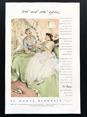 1954 Vintage Print Ad St Mary's Blankets Woman Talking On Bed Illustration