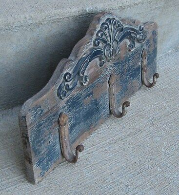 Wood Coat/Hat/Leash Wall Rack*BLUE*Primitive/French Country/Farmhouse Decor