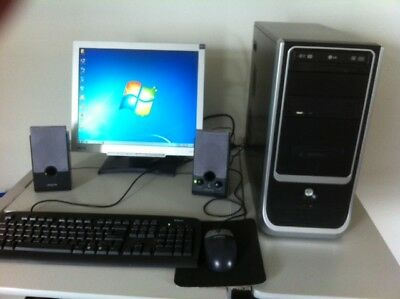 Desktop PC monitor keyboard mouse and speakers