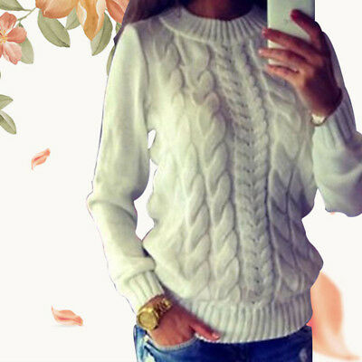 Long Sleeve Loose Sweater Knitted Pullover Womens Casual Tops Jumper New