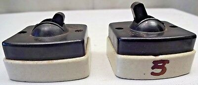 VINTAGE ELECTRIC SWITCHES CERAMIC BAKELITE 5AMP 250V 2 Pc INDIA COLLECTIBLES # 3