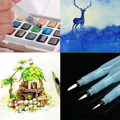 3pcs Refillable Pilot Water Brush Ink Pen for Paint Calligraphy Watercolor S+M+L