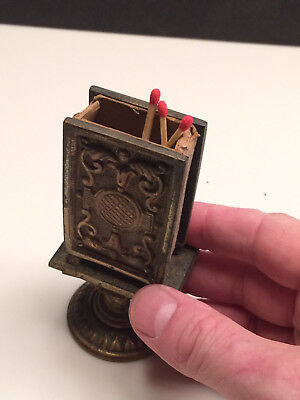 unique carved Antique Vintage Ornate Small heavy Match box Holder Stand BRASS