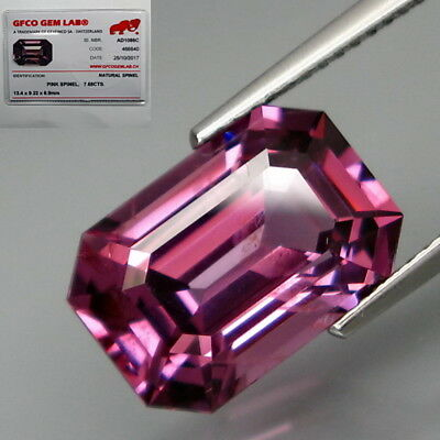 7.68Ct.FREE! Certificate BIG Pink Purple Spinel MaeSai,Thailand Perfect Shape