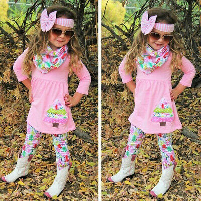 US Stock Kids Baby Girls Christmas Tree Outfit Clothes Tops T Shirt+Legging Set