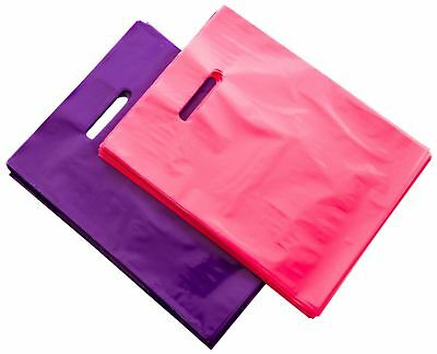 """200 RETAIL SHOPPING BAGS Merchandise Plastic Bags with HANDLES 9x12"""", Glossy"""