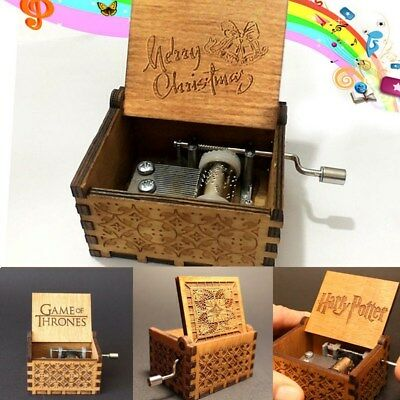 Harry Potter Game of Thrones Merry Christmas Theme Music Box Wooden Xmas Gift HA