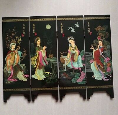 Fine Traditional Chinese lacquer painting four noble beauty of the screen