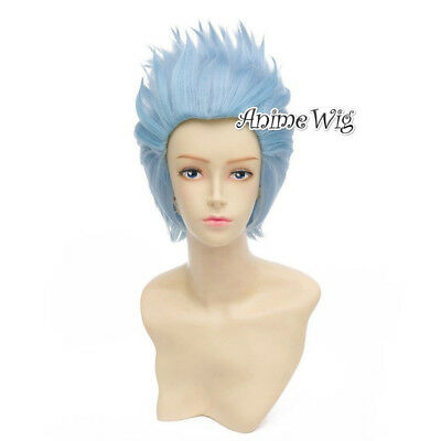 30CM Anime Rick And Morty Hair Short Sky Blue Cosplay Wig+Wig Cap