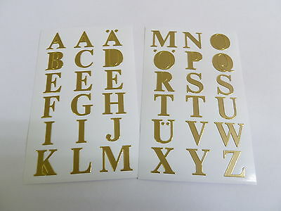 """16mm (0.63"""") Gold Sticky Letters, Self-Adhesive Alphabet A-Z Stickers 59127"""