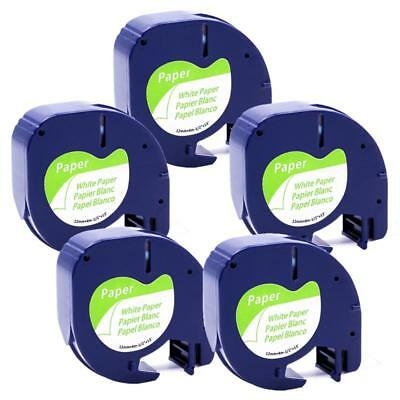 5pk  LT 91330 91200 Compatible with DYMO LetraTag Label Tape White Paper 12mm
