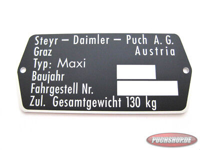 Typenschild für Puch Maxi N Moped E50 Replacement as Original type shield
