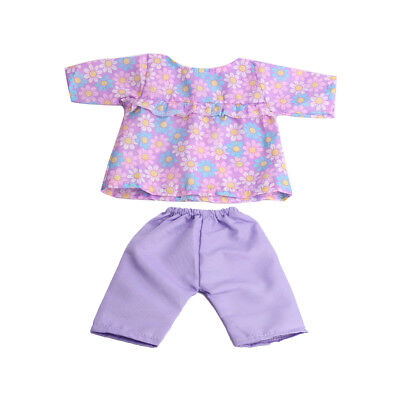 For 18inch American Girl Zapf Baby Born Dolls Clothes Floral Shirt Pants Set