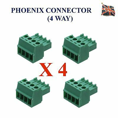 4 Lots of 4 Pin Phoenix Connector Professional Audio 4 Way UK Stock