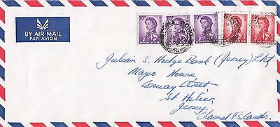 M 176 Hong Kong  April 1972 air cover Jersey CI UK; 5 Annigoni stamps used 130c