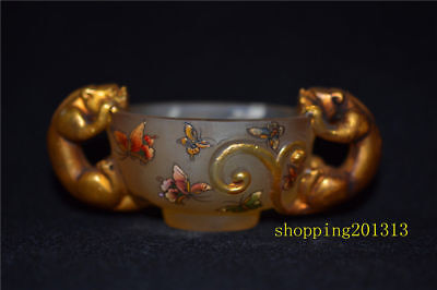 Rare Chinese double tiger glass gilt and hand painted butterfly glass collection
