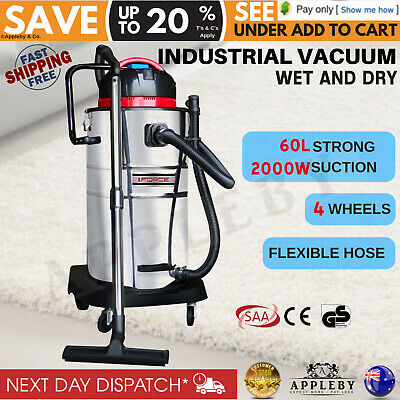 Stainless Steel 60L Industrial Commercial Bagless Dry Wet Vacuum Cleaner 2000W