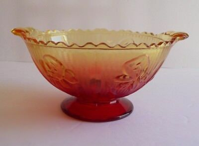 Vintage Red & Yellow Jeannette IRIS & HERRINGBONE Handled Footed Glass Bowl