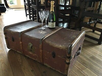 Vintage Bentwood Steamer Trunk Coffee Table Storage Chest Harry Potter Style BVJ