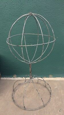 "Vintage looking Tabletop Wire Hat Wig Display Stand - 11"" Tall 6.25"" Diameter"