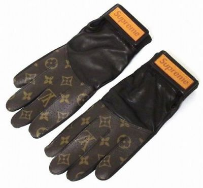 Louis Vuitton X Supreme Brown Leather Lv Baseball Gloves Mp1893 Rare