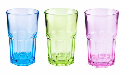 12oz Set of 6 Drinking Water Juice Cold Glass Coloured Tumbler Brand New ZOOM