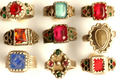 Antique Tribal Silver Rings Wholesale lot of 9 Pcs Afghan Kuchi Solid Silver