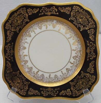 HUTSCHENREUTHER china ROYAL BAVARIAN BLACK RIM square LUNCHEON PLATE 8""