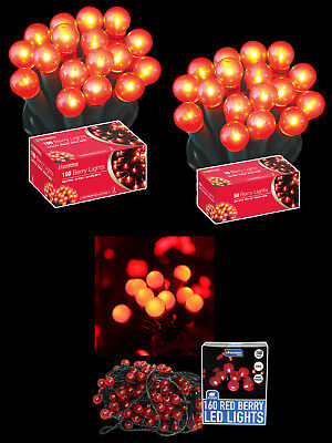 Christmas Lights Red Berry Shape Indoor Fairy Lights Red Bulbs Festive String