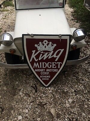 King Midget Micro Car Sign Double Sided man cave patina hot rod one shot