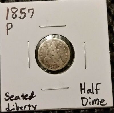 1857-P Seated Liberty Half Dime! 90% Silver! Free Shipping!