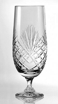HAND CUT STEM BEER LAGER GLASS 50CL New Lead Crystal Quality Mens Gift ENGRAVED