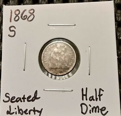 1868-S Seated Liberty Half Dime! 90% Silver!