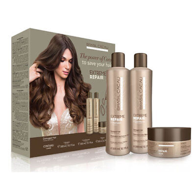 Cadiveu Brasil Cacau Damaged Hair Shampoo Conditioner & Mask Kit