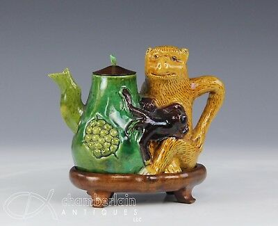Unusual Old Chinese Glazed Pottery Teapot With Monkey