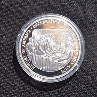 .999 Silver .64 Troy Oz. History of America Declaration of Independence Coin