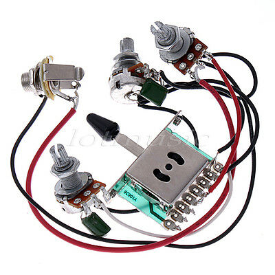 5 Pcs Pickup Switch Pots Jack Wiring Harness for Fender Strat Guitar Replacement