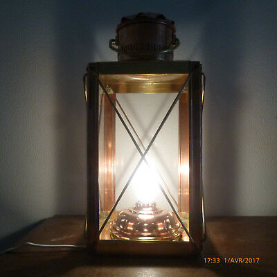 Superbe ancienne lampe marine cuivre