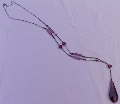 Vintage Antique Art Deco Amethyst Purple Glass Long Flapper Sautoir Necklace NR