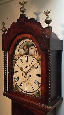 Antique Mahogany Welsh 8 Day MoonPhase Longcase Grandfather Clock