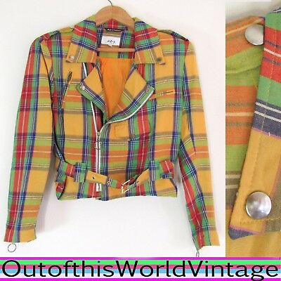 Vtg 80s PLAID MOTORCYCLE JACKET yellow red PUNK 1980s STRAPS BUCKLES Women Sz M